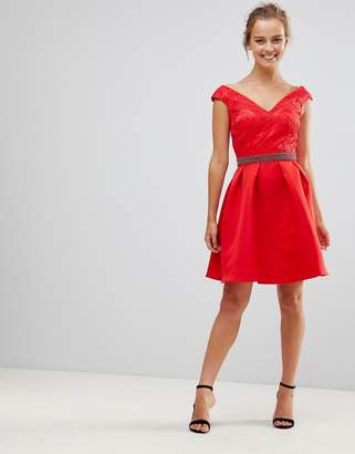 Little Mistress V Front & Back Skater Dress With Embellished Waist-Red