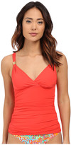 Lauren Ralph Lauren Laguna Solids Shirred Surplice Tankini Top w/ Removable Cup and Slimming Fit