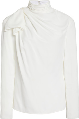 KHAITE Francine Drape-Detailed Crepe De Chine Turtleneck Top