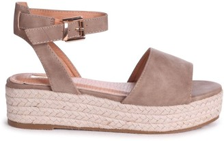 Linzi DYNASTY - Mocha Suede Espadrille Inspired Two Part Flatform With Buckle Detail