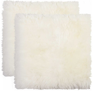 """HomeRoots 17"""" x 17"""" x 2"""" Natural Sheepskin Chair - Seat Cover 2 pcs"""