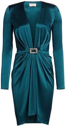 Alexandre Vauthier Deep V-Neck Stretch Silk Cocktail Dress