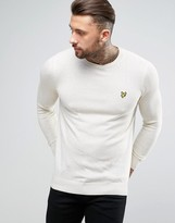 Lyle & Scott Crew Sweater Cotton Merino Knit Eagle Logo in Off White Marl