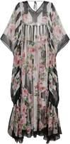 Dolce & Gabbana Silk Rose Print Maxi Kaftan Dress