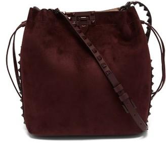 Valentino Rockstud Suede Messenger Bag - Burgundy