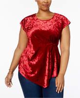 NY Collection Plus Size Velvet Asymmetrical Top