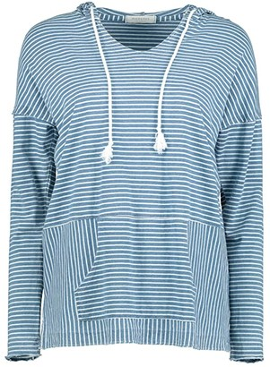 Mod-o-doc Denim Stripe Jersey Drop Shoulder Hoodie (Blue) Women's Clothing