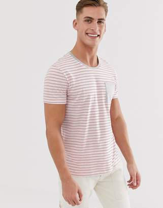 Esprit t-shirt with grey and red stripe-White