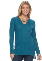 Apt. 9 Women's Crisscross Ribbed Sweater