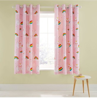 Catherine Lansfield Rainbow Swan Lined Eyelet Curtains