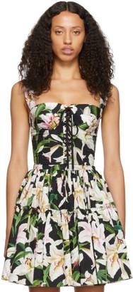 Dolce & Gabbana Black and Green Lilium Flowers Bustier Tank Top