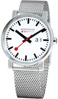 Mondaine A6273030311sbm Unisex Big Date Mesh Bracelet Strap Watch, Silver/white