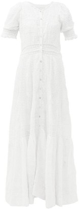 LoveShackFancy Minka Floral-embroidered Cotton Maxi Dress - Womens - White
