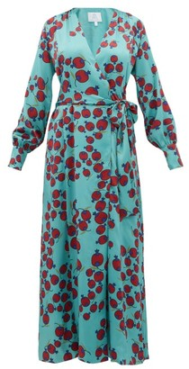 Rebecca De Ravenel Claire Pomegranate-print Silk-satin Wrap Dress - Blue Multi