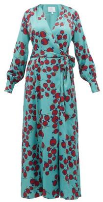 Rebecca De Ravenel Claire Pomegranate-print Silk-satin Wrap Dress - Womens - Blue Multi