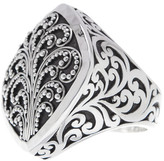Lois Hill Sterling Silver Classic Hand Carved Filigree Square Ring - Size 10