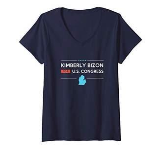 Kimberly Womens Bizon MI10 Michigan for Congress Campaign V-Neck T-Shirt