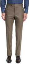 Canali Flannel Flat-Front Trousers, Light Brown