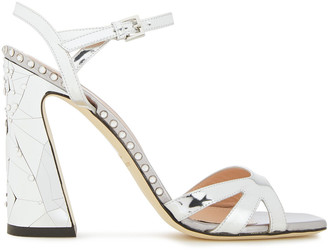 Alberta Ferretti Crystal-embellished Metallic And Cracked Mirrored-leather Sandals