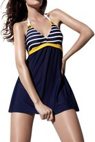 Leefi Womens Navy Stripe Sailor Pin Up Swimsuit One Piece Skirtini Cover Up Swimdress(,XL)