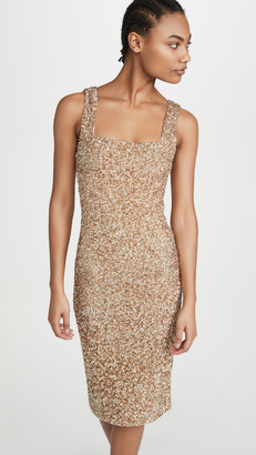 Alice + Olivia Helen Sequin Fitted Square Neck Dress