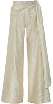 Oscar de la Renta Silk-blend Lamé Wide-leg Pants - Gold
