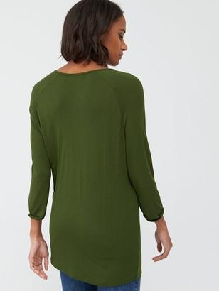 Very Three Quarter Length Sleeved Raglan Tee - Khaki