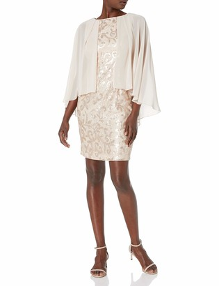 Alex Evenings Women's Sequin Lace Capelet Cocktail Dress