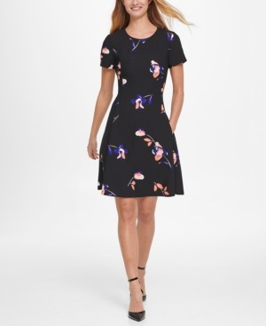 DKNY Short Sleeve Floral Print Fit & Flare Crepe Dress