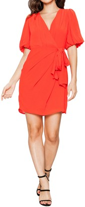 Endless Rose Balloon Sleeve Wrap Mini Dress