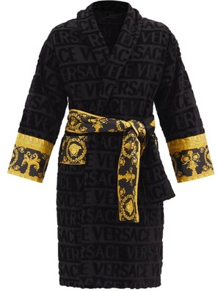 Versace I Love Baroque Logo-jacquard Cotton Bathrobe - Black