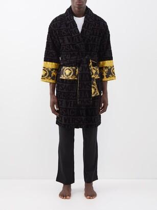 Versace I Love Baroque Logo Jacquard Cotton Bathrobe - Mens - Black
