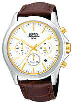 Lorus Rt383ax9 Classic Chronograph Date Leather Strap Watch, Brown/white