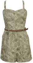 Leaf Print Linen Jumpsuit