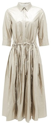 Sara Lanzi Pleated Metallic-satin Shirt Dress - Silver