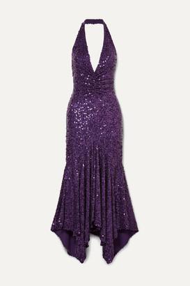 Michael Kors Asymmetric Sequined Stretch-jersey Halterneck Dress - Purple