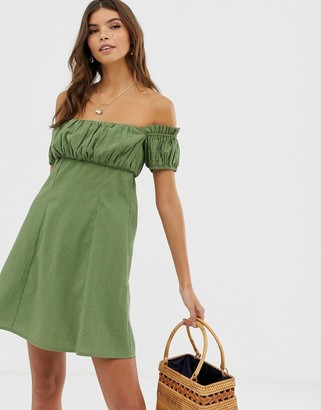 Asos Design DESIGN off shoulder mini sundress with ruched bust-Green