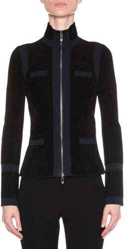 Giorgio Armani Zip-Front Bicolor Seamless Jacket