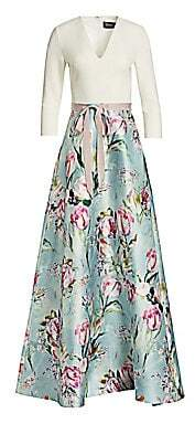 Theia Women's V-neck Floral Skirt Gown