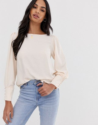 Asos Design DESIGN long sleeve top with deep cuff-White