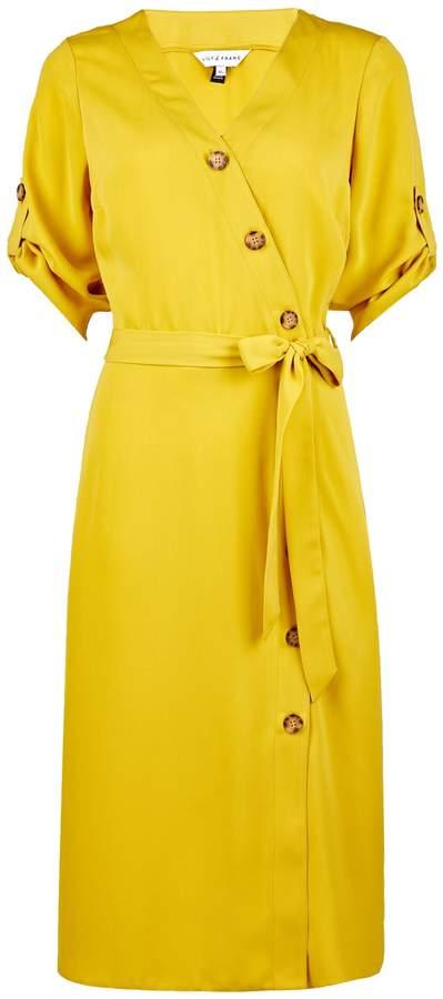 Dorothy Perkins Womens **Lily & Franc Yellow Button Midi Wrap Dress