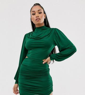Asos DESIGN Petite drape cowl mini dress with tie back and cutout detail-Green