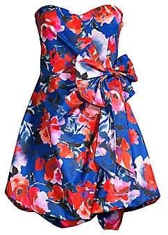 Chantelle Parker Black Women's Floral-Print Bow Dress