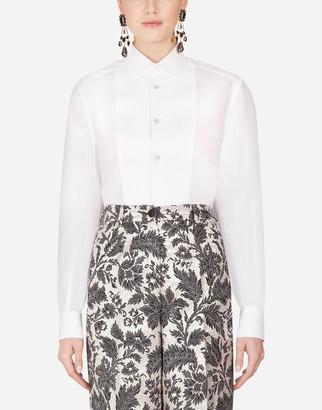 Dolce & Gabbana Cotton Tuxedo Shirt With Plastron