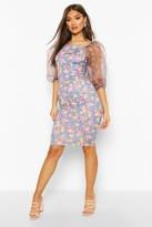 boohoo Floral Print Organza Sleeve Dress