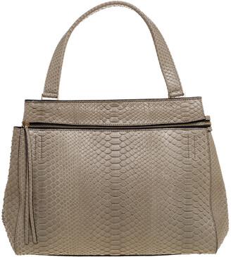 Celine Light Olive Green Python Medium Edge Bag