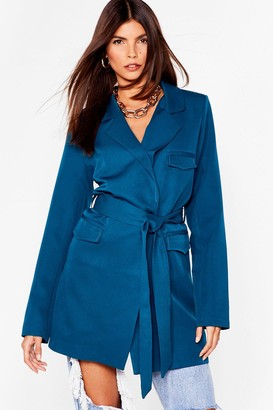 Nasty Gal Womens We're a Big Deal Oversized Belted Blazer - Teal