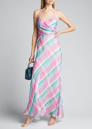 Ralph Lauren Collection Devin Plaid Long Evening Dress