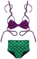 Angel Legend Girls 2Pcs Kids Bow Knot Swimmable Bikini Bathing Suit Swimwear Mermaid Costume 3T