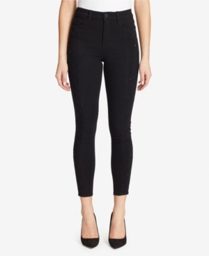 Skinnygirl High Rise Skinny Jeans With Side Lattice Diamante